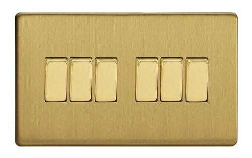 Varilight XDB96S Screwless Brushed Brass 6 Gang 10A 1 or 2 Way Rocker Light Switch